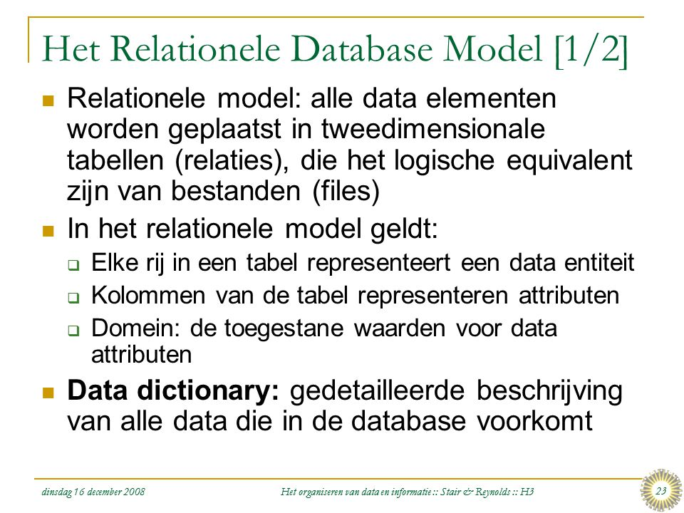 Het Relationele Database Model [1/2]